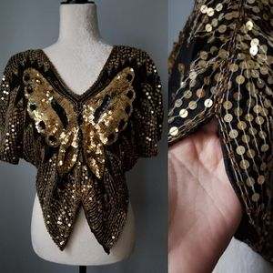 Vintage Gold Sequin Butterfly Top Medium
